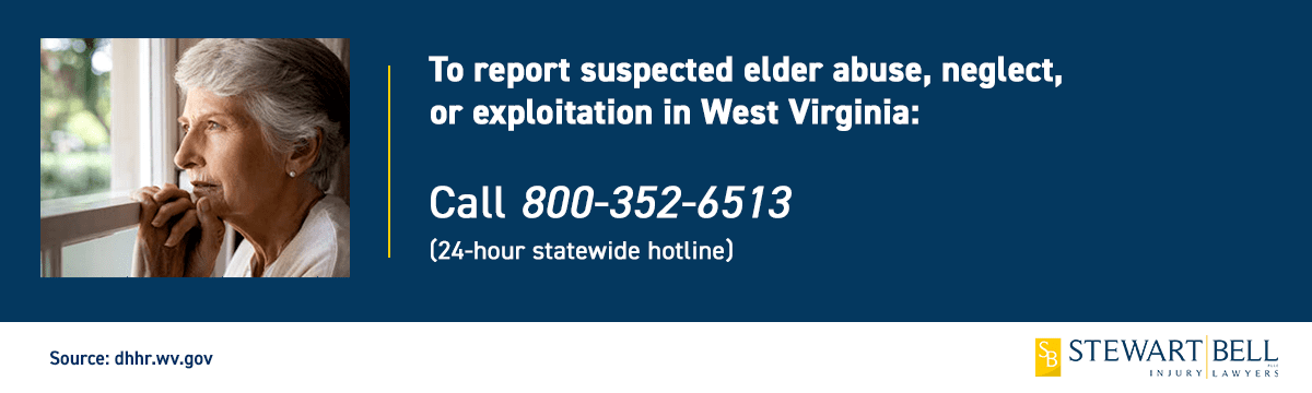 Public service announcement photo providing a phone number for people that have witnessed elder abuse in West Virginia.