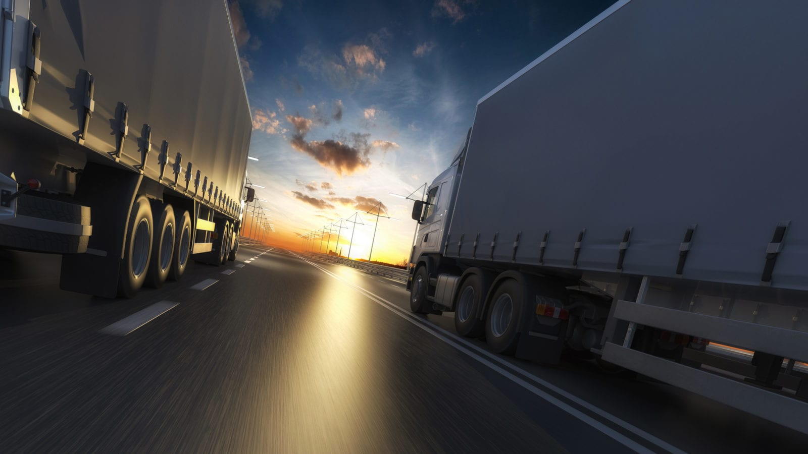 Large Semi-Trucks Stock Photo