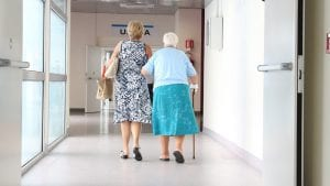 Elderly Woman Hospital|Elderly Walker Stock Photo