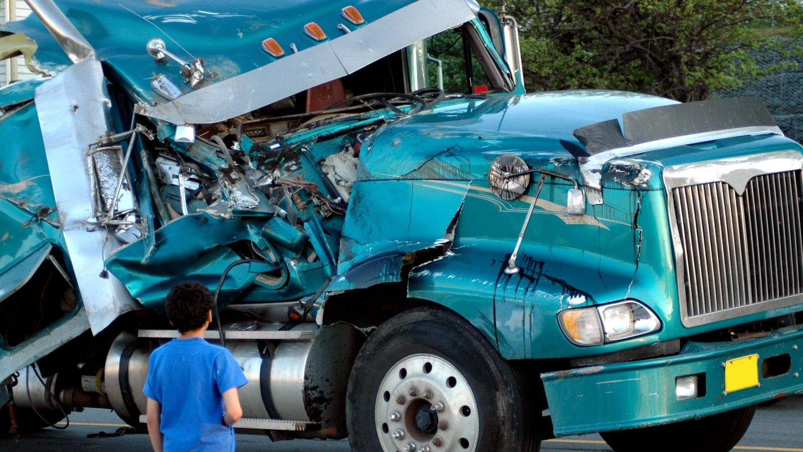 Damaged Semi-Truck Stock Photo