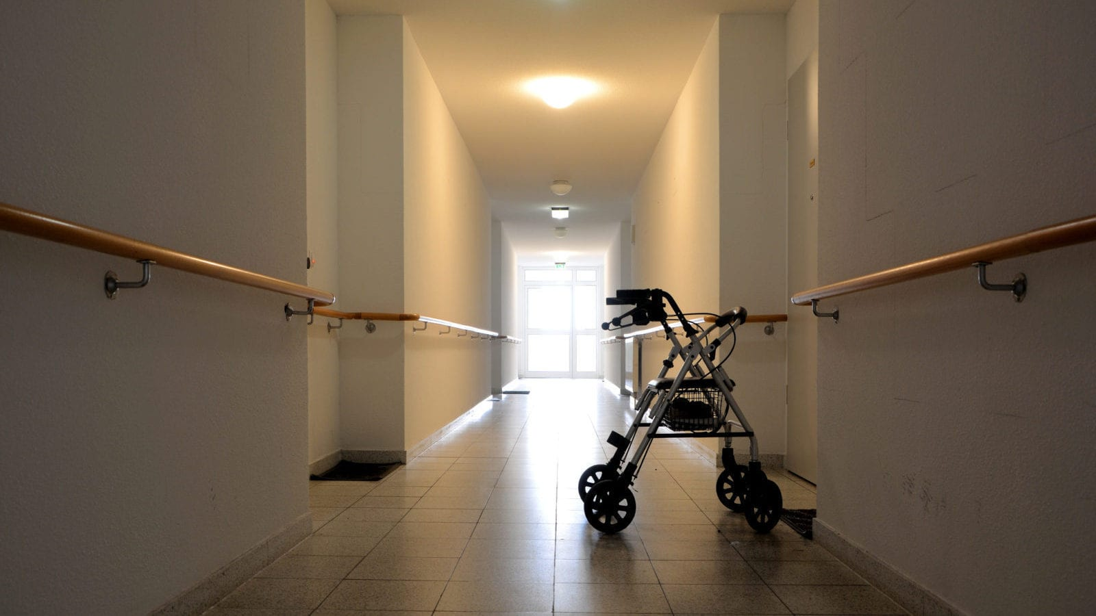 Walker Nursing Home Hallway Stock Photo