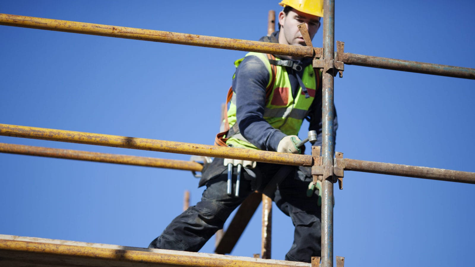 Construction Worker - Scaffolding Accident Stock Photo