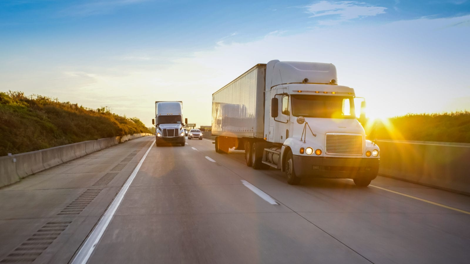 18-Wheelers Driving Stock Photo