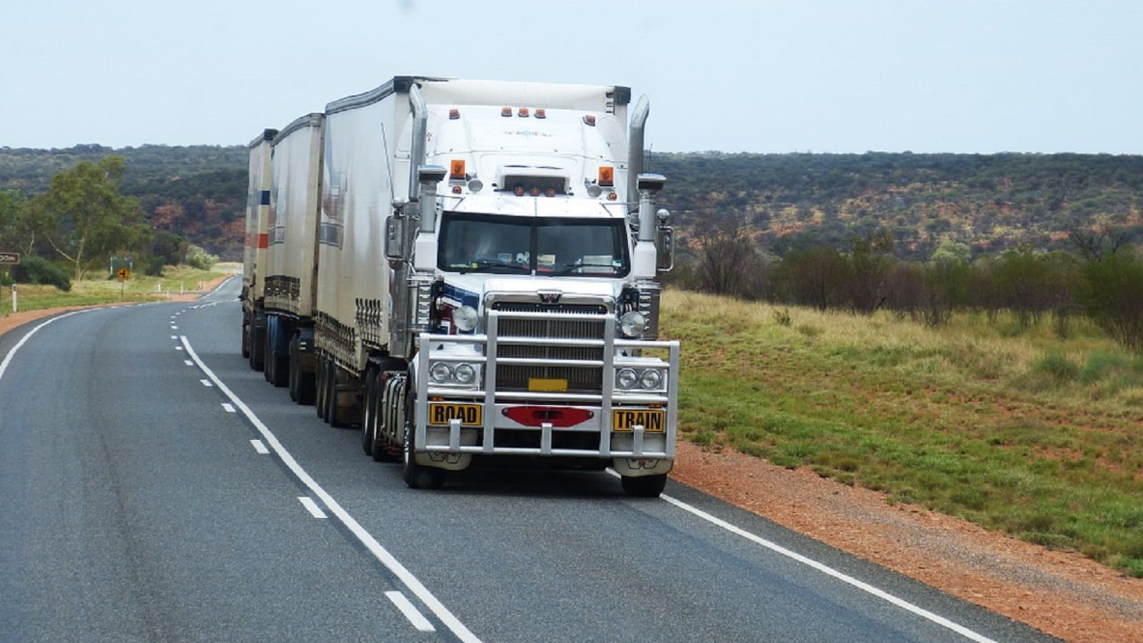Semi Truck Highway Stock Photo