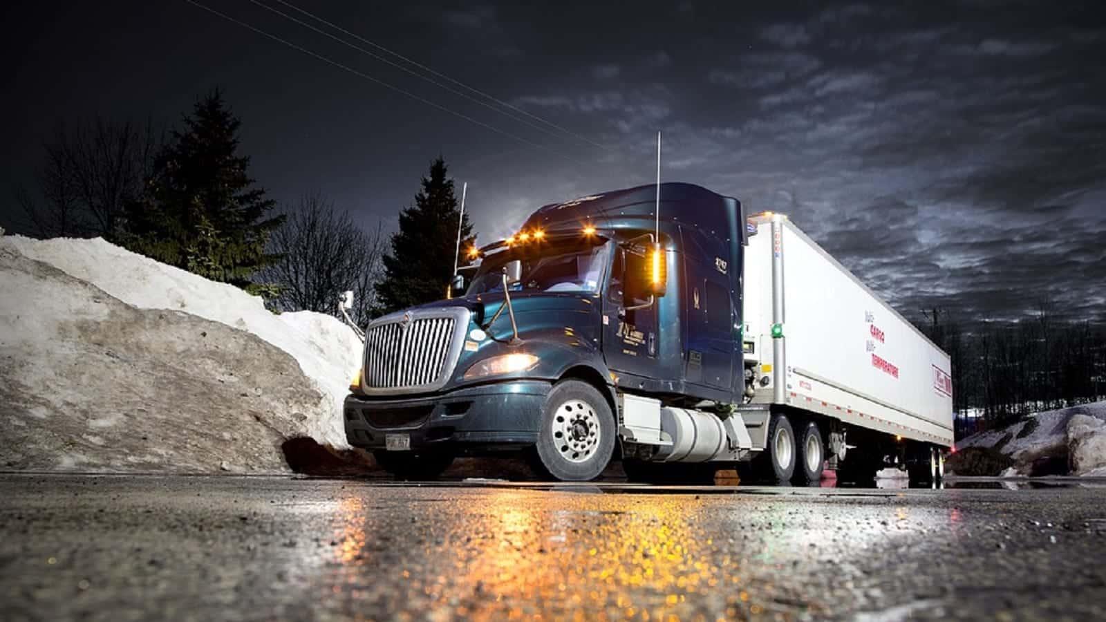 18-Wheeler Driving At Night