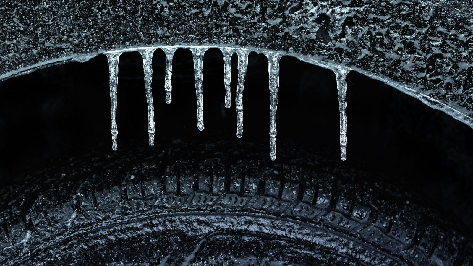 Frozen Car Tire Stock Photo