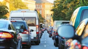 Traffic Jam On A City Street Stock Photo