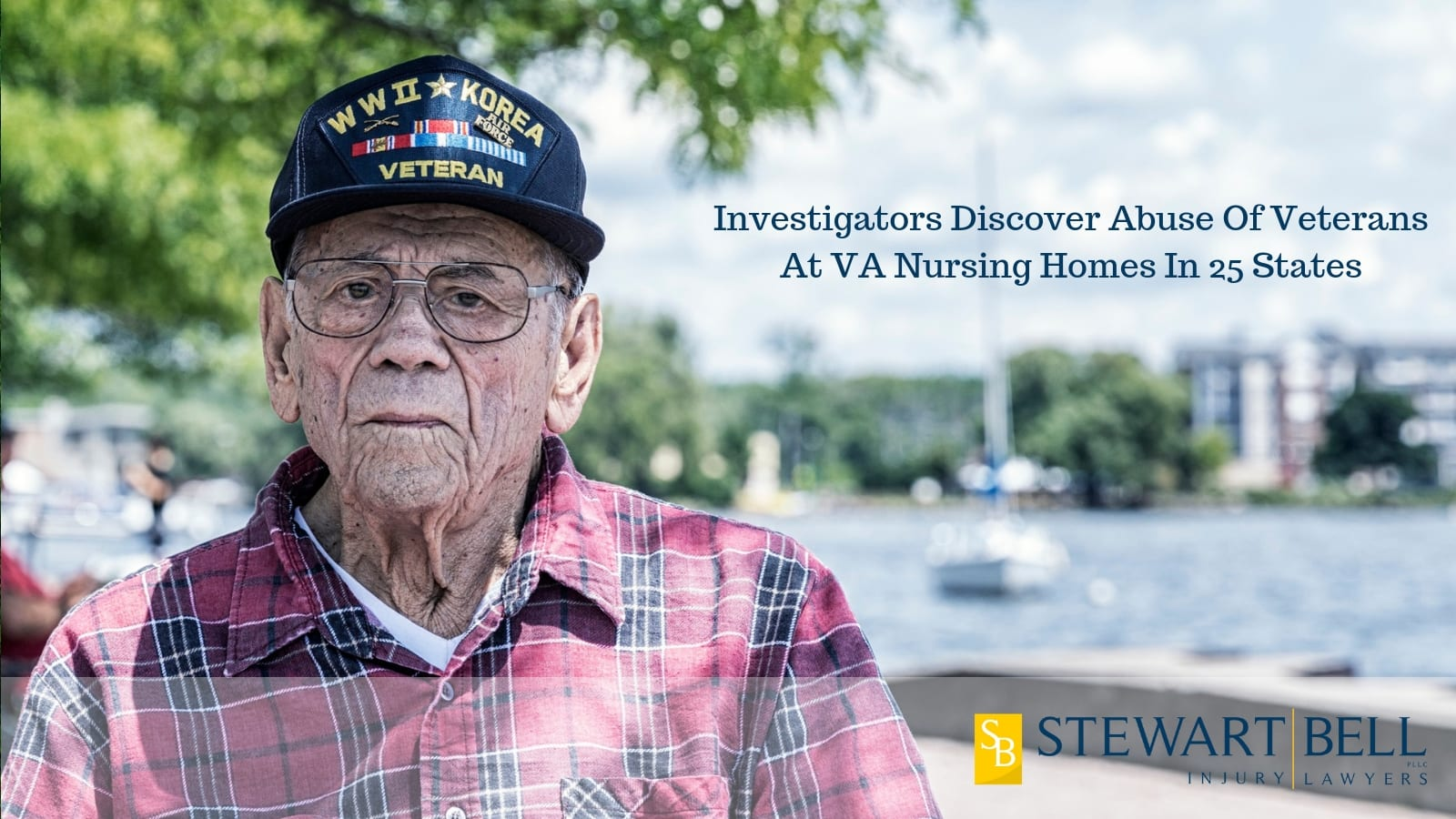Elderly Veteran Sitting Outdoors Stock Photo