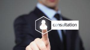 Consultation Button Stock Photo