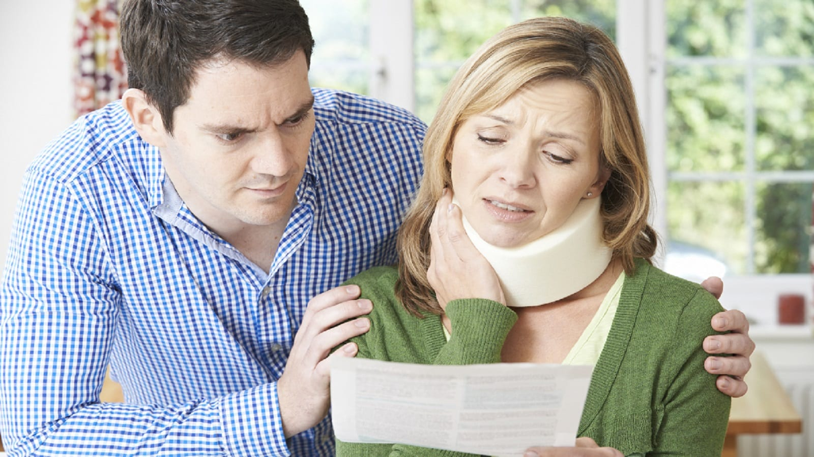 Woman Wearing A Neck Brace After An Accident Stock Photo